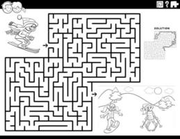 maze game with skiing girls coloring book page vector