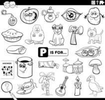 Letra p tarea educativa libro para colorear página vector