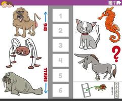 educational game with big and small animals for children vector