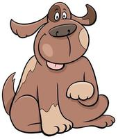 cartoon sitting spotted dog funny animal character vector