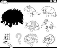shadows game with cartoon wild animals coloring book page vector