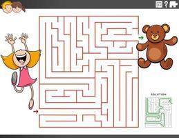 juego educativo laberinto con niña y oso de peluche vector