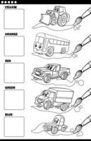 colores básicos con vehículos de dibujos animados para colorear página del libro vector