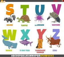 educational cartoon alphabet set with animal characters vector