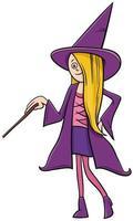 niña en traje de bruja en la fiesta de halloween ilustración de dibujos animados vector
