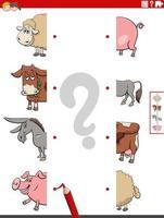 Combina mitades de imágenes con tareas educativas de animales de granja. vector
