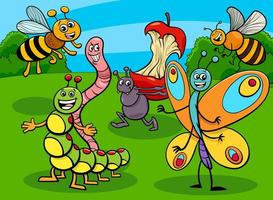 funny insects and bugs cartoon characters group vector