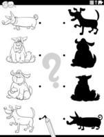 Tarea de sombra con perros de dibujos animados para colorear página del libro vector
