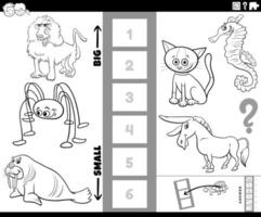 find biggest and smallest animal game coloring book page vector
