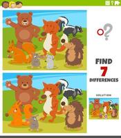differences educational game with wild animals vector