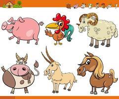 colección de personajes de animales de granja de dibujos animados vector