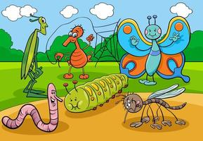 happy insects and bugs cartoon characters group vector
