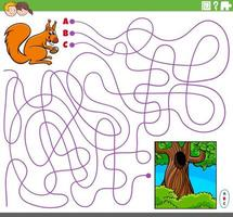 educational maze game with cartoon squirrel and hollow vector