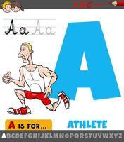 letra una hoja de trabajo con atleta de dibujos animados vector