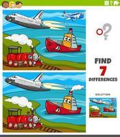 juego educativo de diferencias con personajes de vehículos de transporte. vector