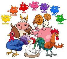 colores básicos para niños con grupo de personajes de animales de granja vector