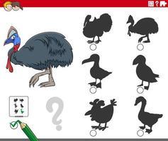 shadows task with cartoon cassowary animal character vector