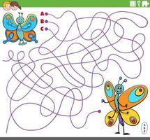 educational maze game with cartoon butterflies vector