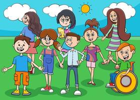 funny kids and teens cartoon characters group vector
