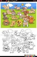 caricatura, divertido, cachorros, grupo, libro colorear, página vector