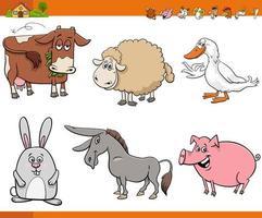 Conjunto de personajes cómicos de animales de granja de dibujos animados vector
