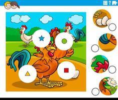 emparejar piezas tarea con personajes de pollo vector