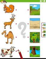 emparejar animales y sus entornos tarea educativa vector