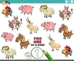 one of a kind task for kids with farm animals vector