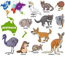 ilustración educativa de animales australianos establecidos vector