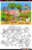 cartoon farm animals group coloring book page