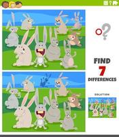differences educational game with cartoon rabbits