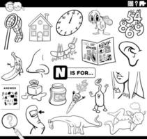 letter n educational task coloring book page