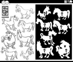 matching shapes game with horses coloring book page