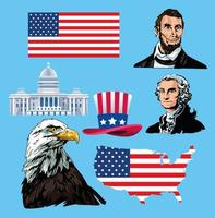 happy presidents day poster with icons