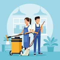 housekeeping couple workers with vacuum cleaner appliances vector