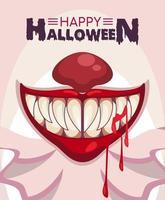 cartel de celebración de horror de halloween feliz con boca de payaso y sangre vector