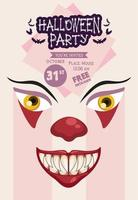 halloween horror party celebration poster with dark clown face vector