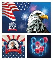 happy presidents day poster with set of scenes