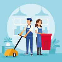 housekeeping couple workers with waste bin and floor shiner vector
