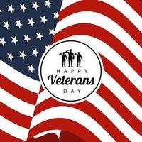 Feliz día de los veteranos letras en cartel con soldados en marco circular fondo de bandera de EE. UU. vector