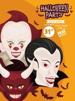 halloween horror party celebration poster with group of dark characters vector