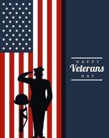 Feliz día de los veteranos letras en cartel con oficial militar y casco en rifle vector
