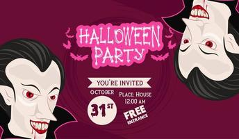 halloween horror party celebration poster with vampires vector