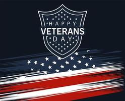 happy veterans day lettering in shield with flag vector