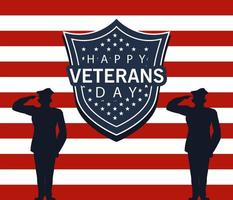 happy veterans day lettering with military officers and shield vector