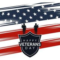 happy veterans day lettering with shield and soldiers on usa flag background vector