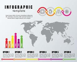 infographic template statistics with earth planet maps vector