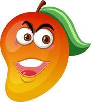 Personaje de dibujos animados de mango con expresión de cara feliz sobre fondo blanco. vector