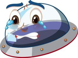 Ufo with crying face expression on white background vector