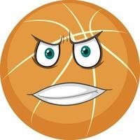 baloncesto con expresión facial sobre fondo blanco vector